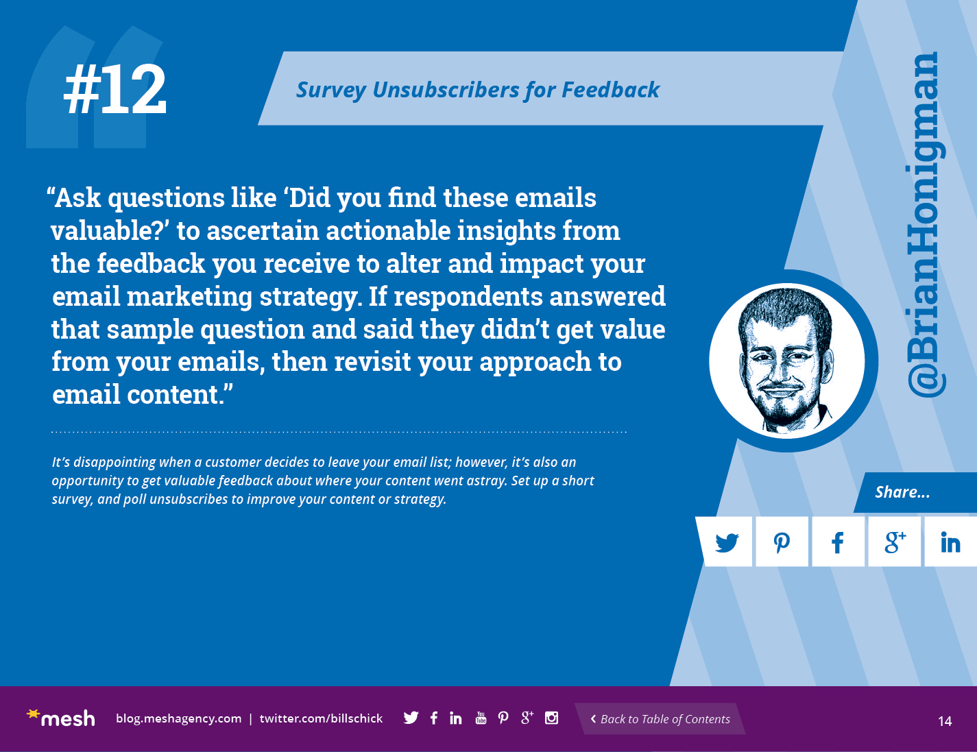 #12: Survey Unsubscribers for Feedback via @meshagency #365EmailTips