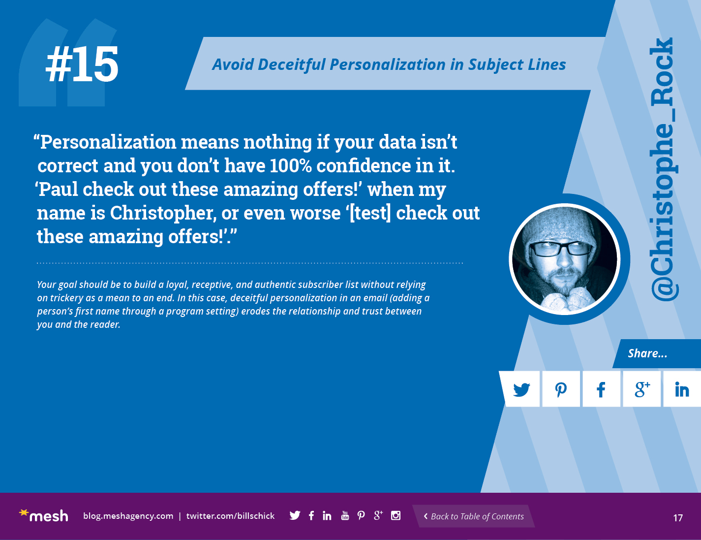 #15: Avoid Deceitful Personalization in Subject Lines via @meshagency #365EmailTips