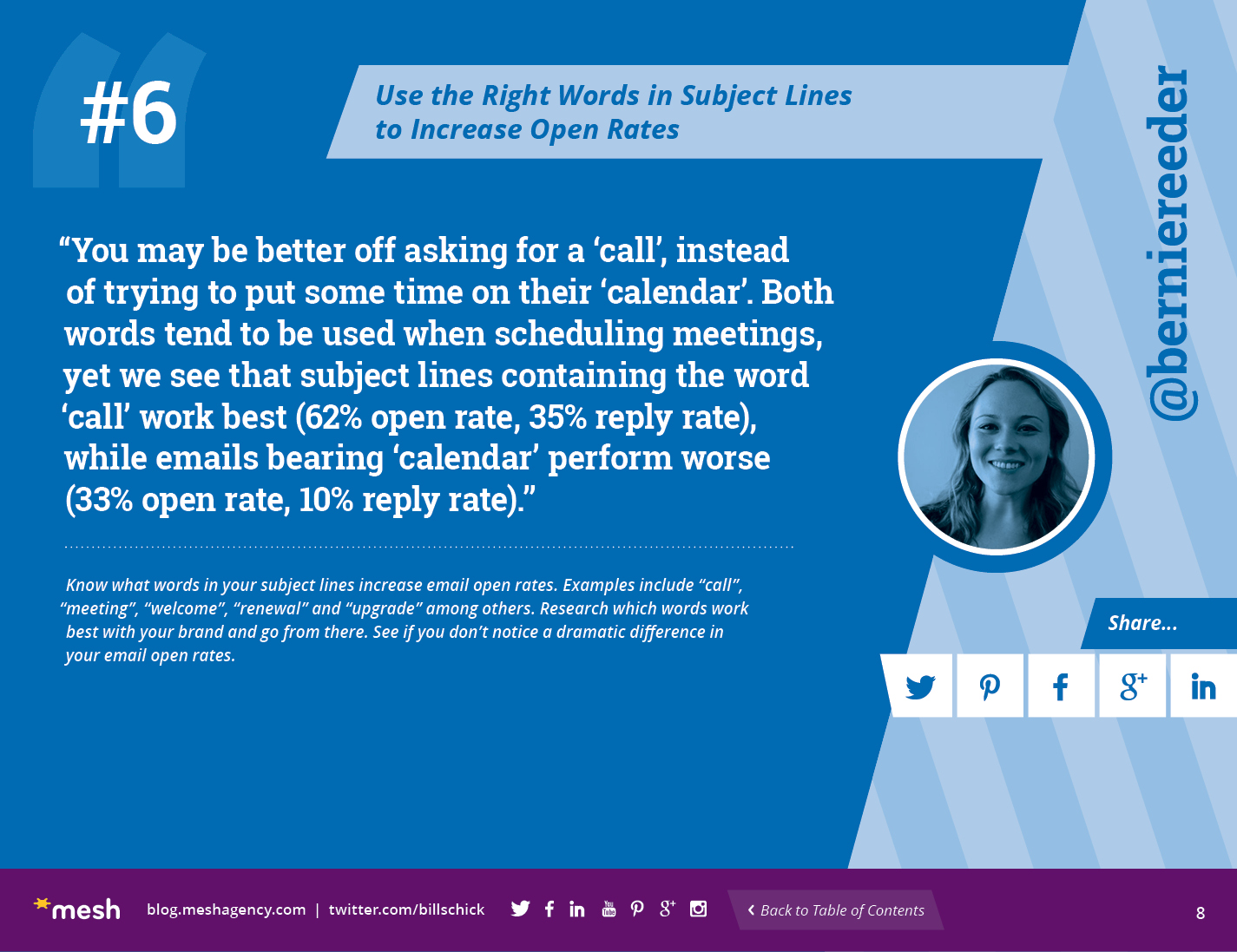 #6: Use the Right Words in Subject Lines to Increase Open Rates via @meshagency #365EmailTips