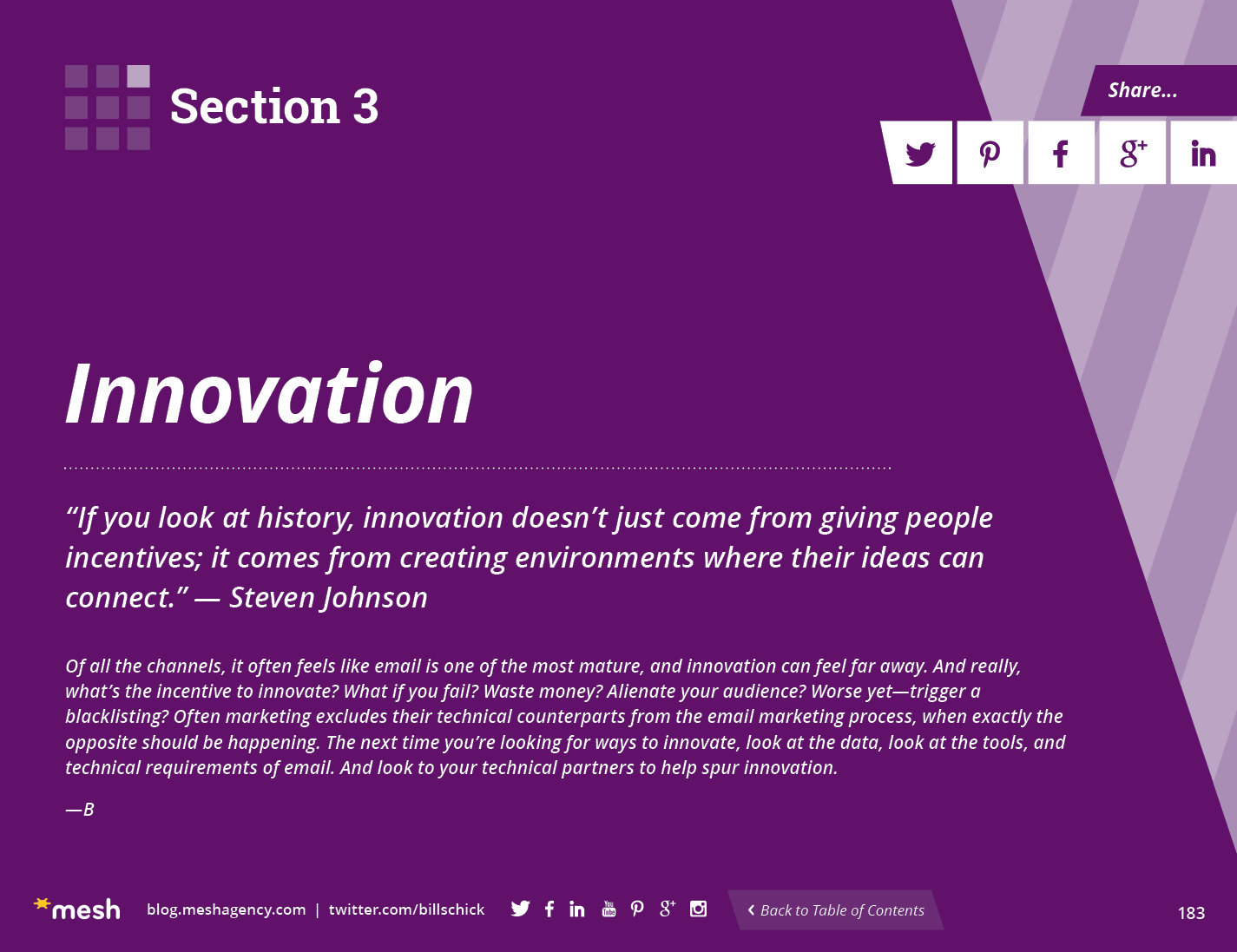 Section 3: Innovation via @meshagency #365EmailTips