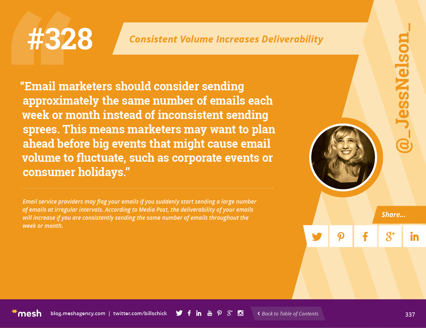 #328: Consistent Volume Increases Deliverability via @meshagency #365EmailTips