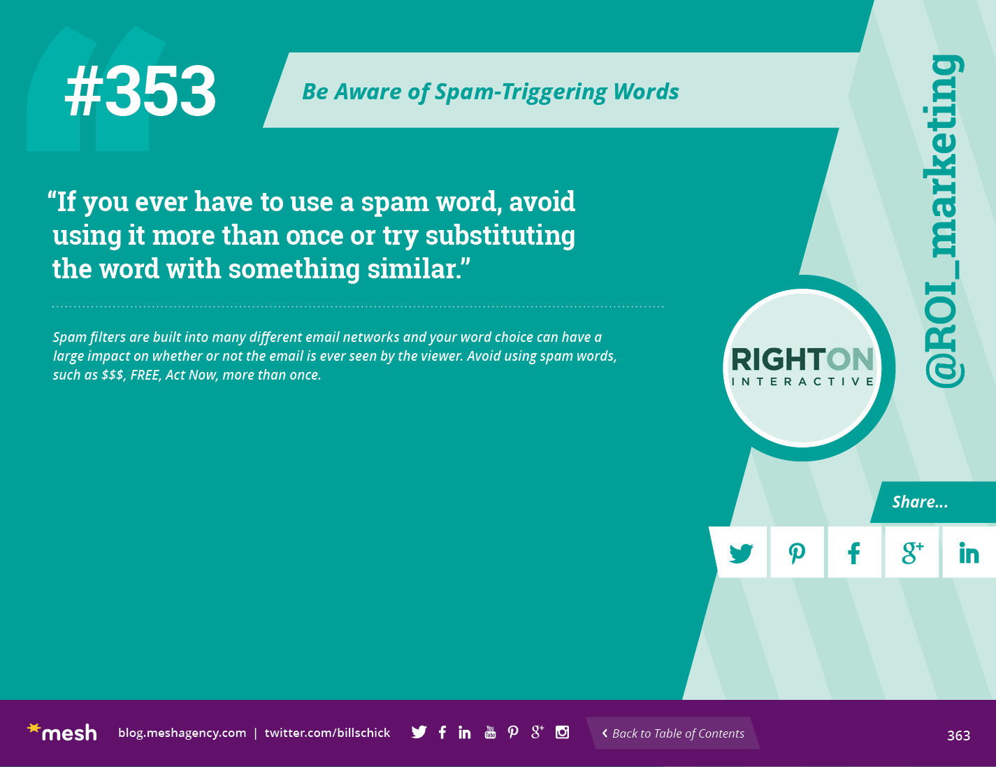 #353: Be Aware of Spam-Triggering Words via @meshagency #365EmailTips