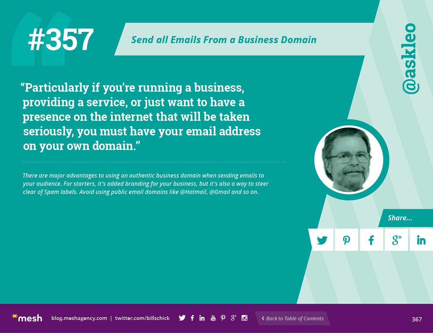 #357: Send all Emails From a Business Domain  via @meshagency #365EmailTips