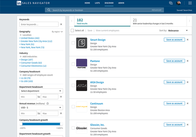 Account-based marketing tools LinkedIn Sales Navigator screenshot