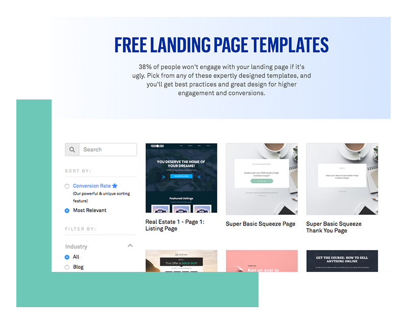 Leadpages landing page templates as ClickFunnels alternative
