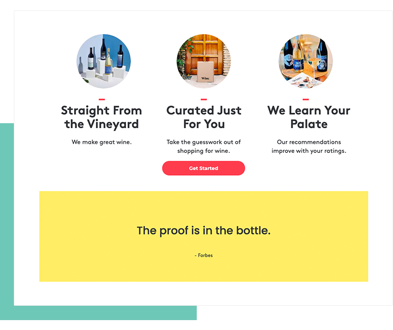 Testimonials on a landing page